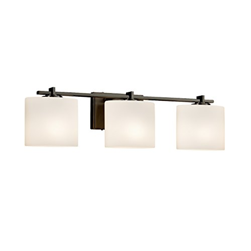 Light Bath Bar Oval Shades (Fusion - Era 3-Light Bath Bar - Oval Artisan Glass Shade in Opal - Dark Bronze Finish - LED)
