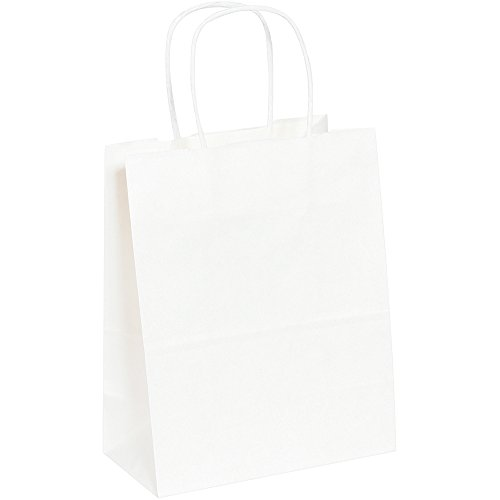 "Aviditi BGS103W Paper Shopping Bag, 8"" Length x 4-3/4"" Width"