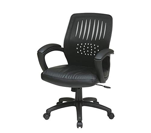 Оfficе Stаr Screen Back Over Designer Contour Shell Managers Chair with Eco Leather Seat and Eco Leather Padded Arms, Black