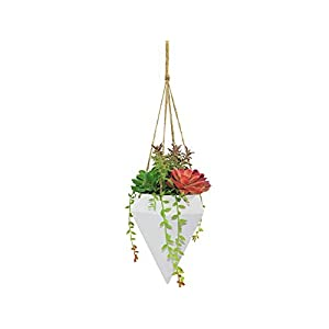 Linico Beautiful Lifelike Fake Succulent Plants in Pot Plant Hanger, Elegance Faux Succulent Hanging Planter for Decoration, Assorted Colorful Artificial Succulent Plants with String of Pearls, 78