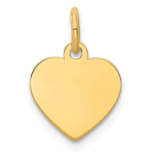 14k Yellow Gold .011 Gauge Engravable Heart Disc Pendant Charm Necklace Simple Shaped Plain Fine Jewelry Gifts For Women For Her