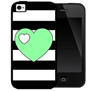 Black and White Horizontal Stripes Pattern with Mint Green Heart in Center 2-Piece Dual Layer High Impact Black Silicone Cell Phone Case Cover iPhone 4 4s