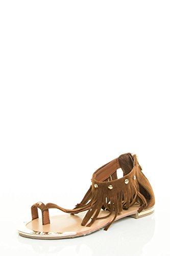 Collegamento Per Sempre Donna Open Toe T-strap Borchia Caviglia Polsino Piatto Sandalo Marrone