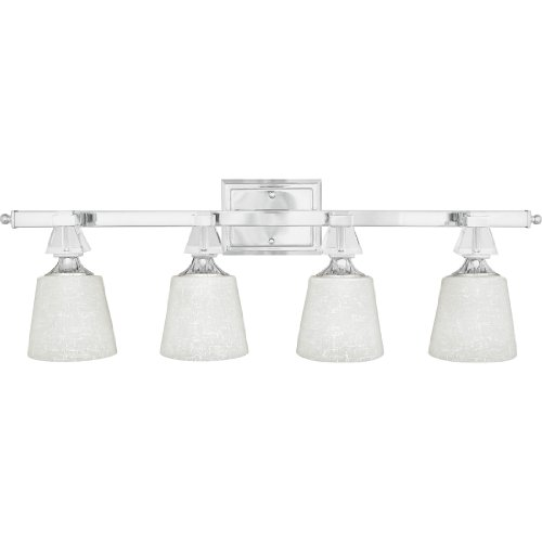 Quoizel Glass Bathroom Sconce (Quoizel DX8604C Deluxe 4-Light Bath Light, Polished Chrome)