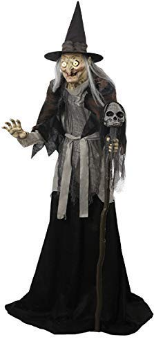 Fancy Me 1.8m (6ft) Animated Lunging Hag Witch Lights Sound Motion Activated Talking Cackling TV Book Film Horror Scary Halloween Party Decoration Prop]()
