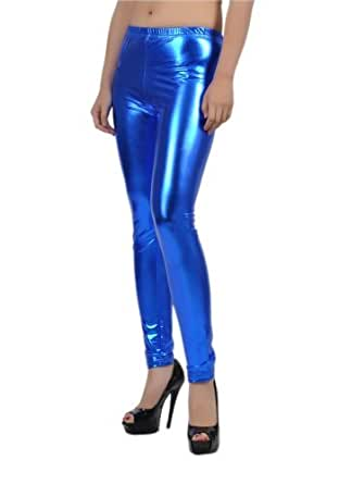 Soho Apparel Seamless Shiny Pants SS-L04-Blue-Small Polyester Spandex