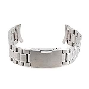 ZA Men Women 18mm Silver Steel Watch Band Strap Bracelet Curved End High Quality(Delivery color random)