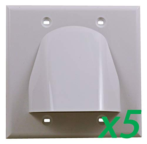 (5 Pack) White Double-Gang Low Voltage Cable Pass Through Wall Face Plate 2-Gang