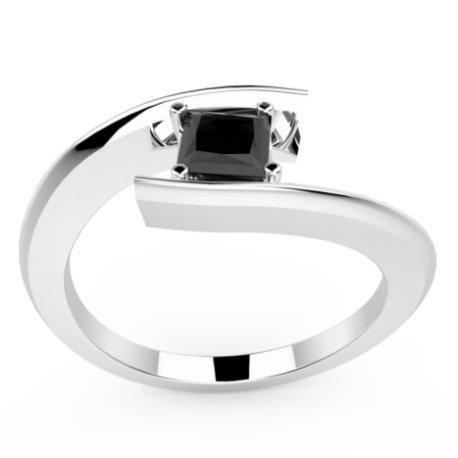 HABY PRINCESSE Bagues Argent Diamant Noir 0,8 Princesse