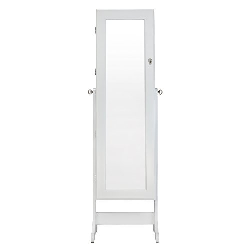 Homegear Modern Mirrored Jewelry Cabinet with Stand Armoire Organizer Storage White by Homegear (Image #1)