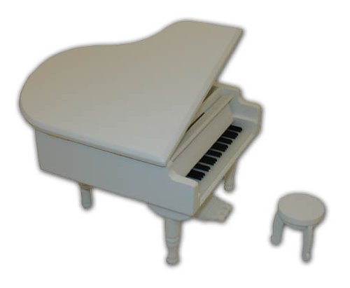 Gorgeous Small White Wooden Piano Musical Jewlery Box W. Stool - Blue Hawaii (L Robins) - SWISS by MusicBoxAttic