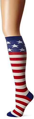 K. Bell Women's Novelty Knee High Socks, American Flag, - High Flag