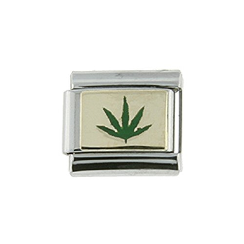 Sabrina Silver Stainless Steel 18k Gold Cannabis Leaf Charm for Italian Charm Bracelets