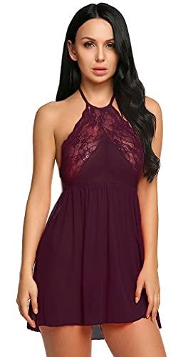 Xs and Os Women Lingerie Mini Lace Babydoll Nightwear Mesh Sleepwear (with g-String Panty)