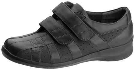 Aetrex Women's E830 Striped 2 Strap Fashion Sneaker - Black Leather/Suede 9.5 2A(N) US by Apex