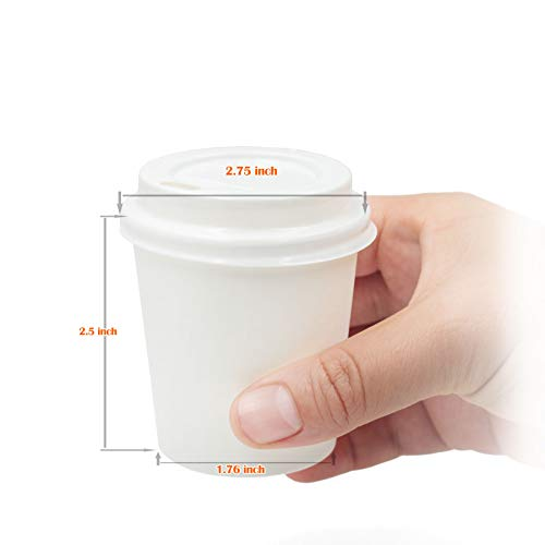 (•GOLDEN APPLE, Disposable Paper Coffee Cups 4 oz. Cups & Lids Quantity 50 Cups per)