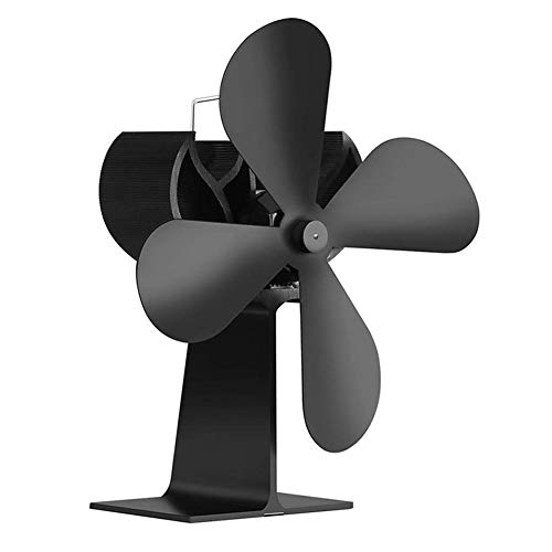 TOOGOO Fan for The Stove and Wood Heat Feed Stove Fan for Wood Stove and Chimneys No Noise Powered by Heat - Black