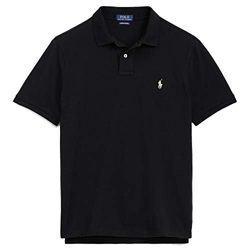 Polo Ralph Lauren Men Custom Fit Mesh Pony Logo Shirt (XL, BasicBlack)
