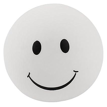 La cara sonriente de impresión de PVC Modo 7 Linterna luz de la noche Negro Blanco