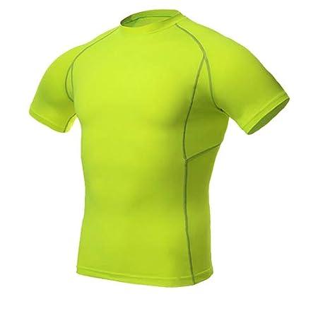 DACEBEIXIN Canotte Uomo,Compressione Calcio Tennis Maglioni Stretti Palestra Fitness Uomini Sportswear in Funzione A Breve T-Shirt Tuta Sportiva
