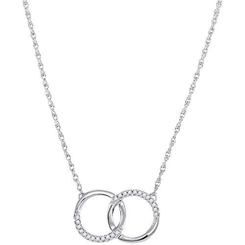 FB Jewels 10kt White Gold Womens Round Diamond Interlocking Double Circle Pendant Necklace 1/10 Cttw (I1-I2 clarity; H-I color)
