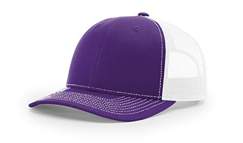 Richardson 112 Mesh Back Trucker Cap Snapback Hat, Purple/White