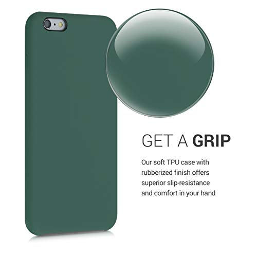 kwmobile TPU Silicone Case Compatible with Apple iPhone 6 Plus / 6S Plus - Soft Flexible Rubber Protective Cover - Forest Green