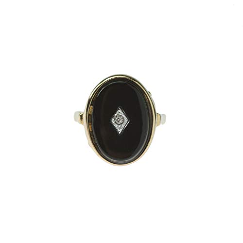 - Providence Vintage Jewelry Faux Onyx Clear Swarovski Crystal 18k Gold Plated Ring