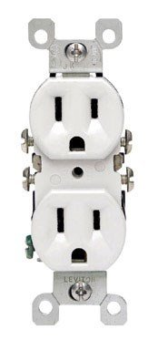 Leviton 12650-W 15 Amp, 125 Volt, Co/Alr Duplex Receptacle, Straight Blade, Residential Grade, Grounding, White (Outlet Electric Wiring)