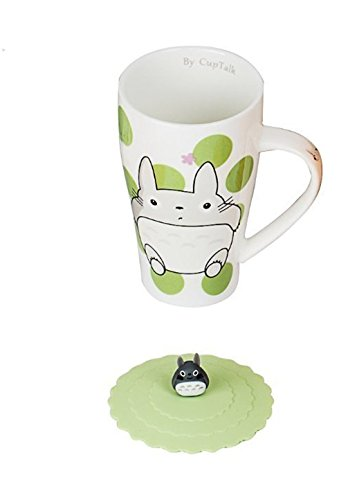 Totoro Mug With Silicone Lid (Color Green Dot) (Travel Japanese Mug)