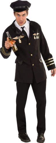 Rubie's Heroes and Hombres Pilot Jacket With Shirtfront Tie and Hat, Black, (Pilot Jacket Costume)