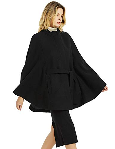 CASODA Women's Wool Blend Coat Batwing Cape Cashmere Feel Cloak Zipper Warm Poncho Outerwear,Black,XS/S