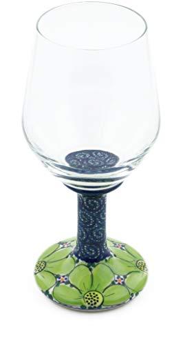 Polish Pottery 14 oz Wine Glass (Flower Field Theme) Signature UNIKAT + Certificate of Authenticity from Polmedia Polish Pottery