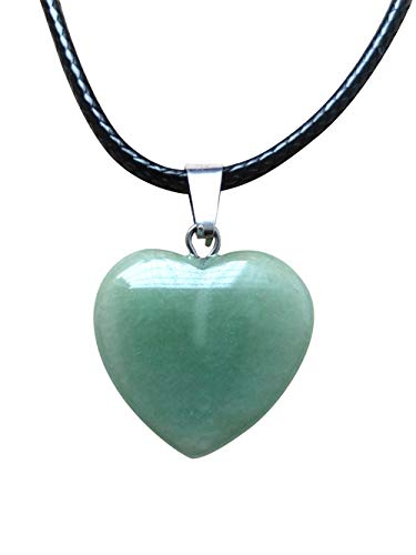 AIMITH Heart Shape Love Pendant Onyx Crystal Gemstone Rock Stone Chakra Necklace Jewelry (Green Agate) ()