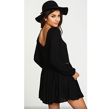 PU&PU Robe Aux femmes Ample Simple,Couleur Pleine Col en U Mini Polyester , black , xl