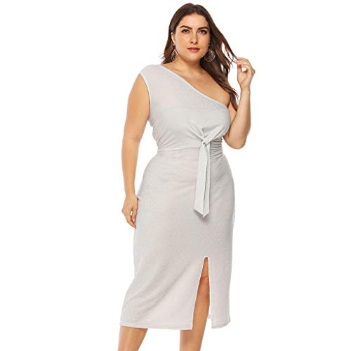 Azcczzii Summer Womens Fashion Sexy One Shoulder Club Sleeveless Solid Knee-Length Dress Plus Size (XXL, White) ()