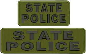 (State Police Embroidery Patches 3X10 and 3X6 Hook Black and OD Green by HighQ Store )