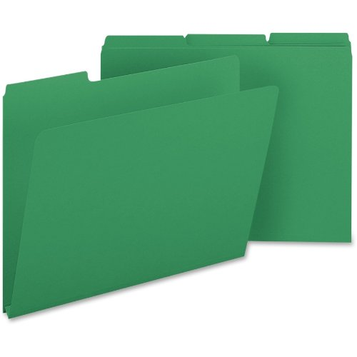 "Smead Pressboard File Folder, 1/3-Cut Tab, 1"" Expansion, Letter Size, Green, 25 per Box (21546)"