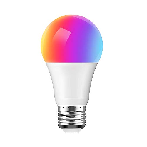 Smart Light Bulb, Compatible with Alexa Google Home and IFTTT, WiFi LED Bulb A19 E26, Multi-Color and Dimmable, No Hub Required, 7.5W (65W Equivalent), 1 Pack