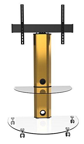 Goldline - Unidad para TV, cristal transparente, soporte para televisor con ruedas, para