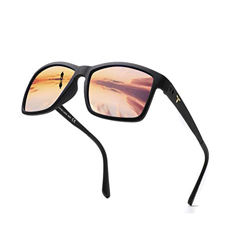 (Tacloft Sunglasses for Men 57mm HD Polarized Sunglasses TR004(Black Frame/Brown Lens) )