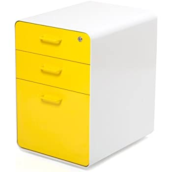 Amazon Com Poppin White Yellow West 18th 3 Drawer File