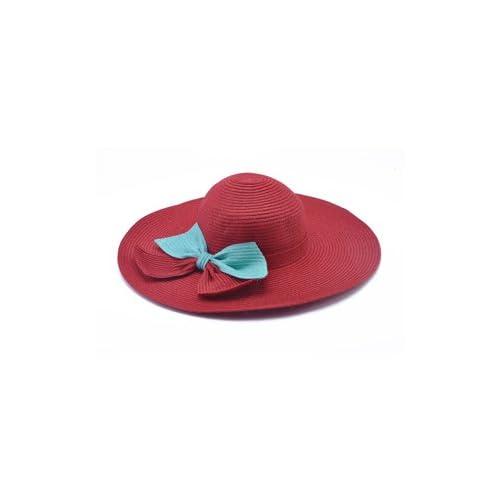 ZHANGYONG*Les enfants de l'été widebrimmed crème solaire élégant chapeau de paille plage soleil le long de la grande marée de pare-soleil, M (56-58cm) , rouge pourpre