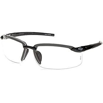 013c8c0551e ES5 Reader Crossfire Safety Glasses Clear Diopter 2.5 Shiny Pearl Gray Frame
