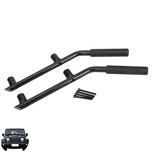TUINCYN Grab Handle Solid Steel Black Rear Grab Bar Car Handrail for Jeep Wrangler JK Rubicon Sahara Sport 2007-2017 (One Pair)