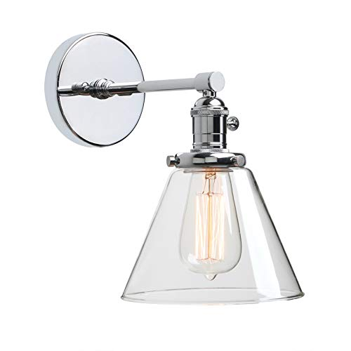 Phansthy Vintage Industrial Wall Light 1-Light Wall Lamp with 7.3 Inches Cone Glass Canopy(Chrome)
