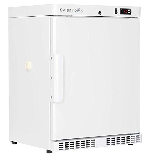 K2 Scientific - Under-Counter or Freestanding Solid Door Refrigerator for Lab Equipment - Medical-Grade Storage - 2 Shelves - 4 Cu. Ft.