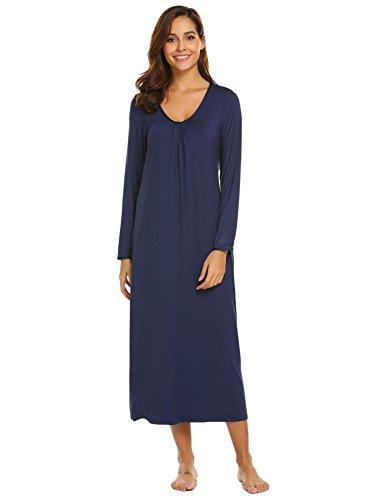 Ekouaer Long Sleeve Cotton Sleepwear Nightgown O Neck Henley Full Length Sleep Dress for Women, Navy Blue, Medium