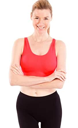 Red Ladies Thick Strap Ribbed Padded Sports Bra