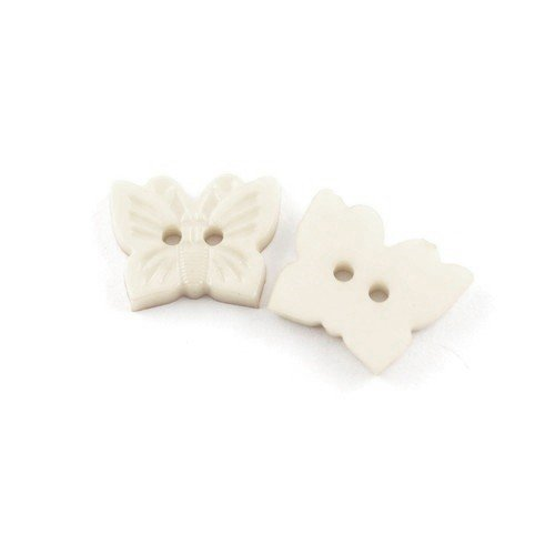 4 Hole - HA10510 Packet of 10 x White Resin 30mm Round Buttons - Charming Beads